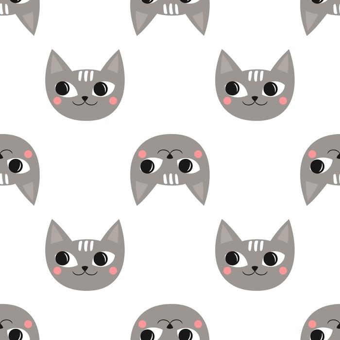 Vinilo Pixerstick Gatos lindos de patrones sin fisuras para las ...