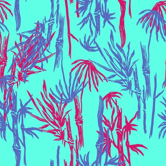 sticker mod le de feuilles tropicales sans soudure de bambou sur fond branch exotique papier. Black Bedroom Furniture Sets. Home Design Ideas