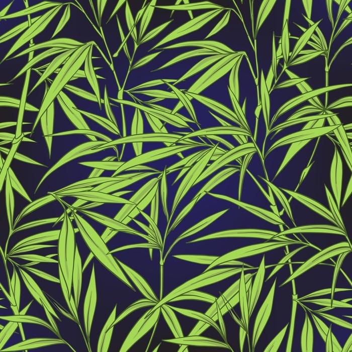 Fototapete Nahtlose Muster mit Bambus Blättern und Zweigen im ...