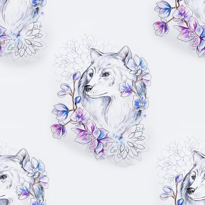 Fototapete Nahtloses Muster eines schönen Wolfs in den Blumen auf ...