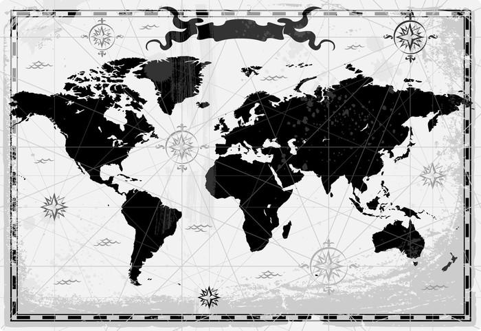 Papier Peint Vinyle Noir ancienne carte du monde - Thèmes