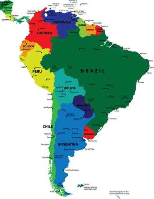 Carta da parati sud america mappa vettoriale politica for Carta da parati cartina geografica