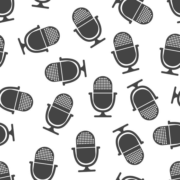 Vinylová Tapeta Mikrofon bezproblémové vzorek. obchodní koncepce mikrofonu piktogram. vektorové ilustrace na bílém pozadí. - Koníčky a volný čas