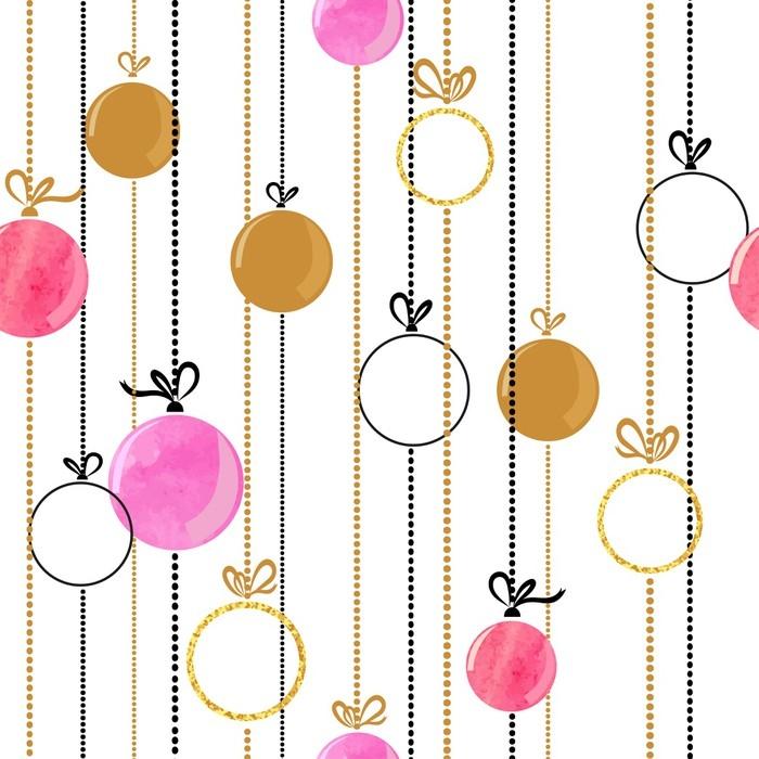 Fotomural Bolas de Navidad de patrones sin fisuras en colores rosa y ...