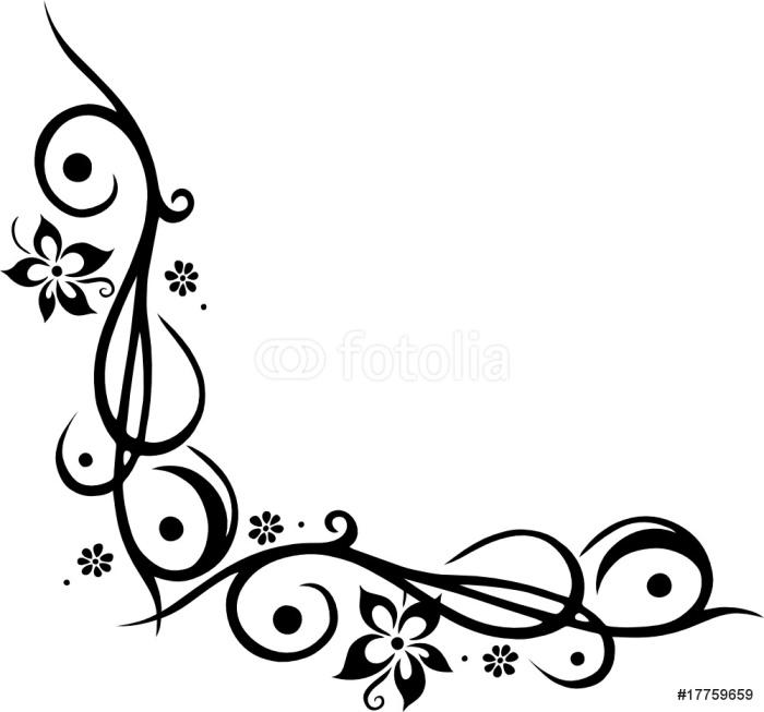 Vinylová Tapeta Ranke, květinový, okrasa, mit Blumen, blüten, Tattoo Style - Květiny
