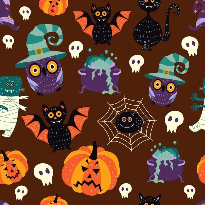 Vector Flat Halloween Autumn Holiday Symbols Seamless Pattern Black