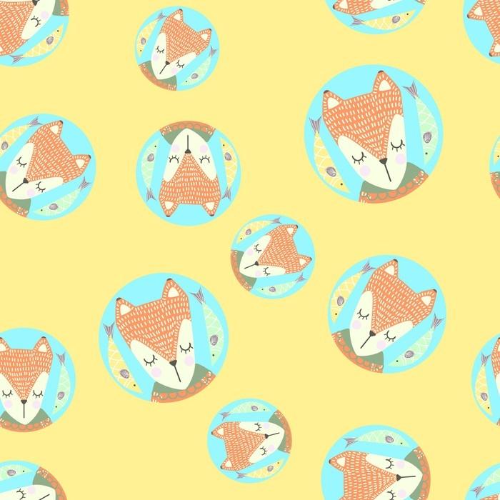 Sticker Pour Table Lack Modèle Sans Couture Scandinaves Avec Des Renards Et Des Feuilles Design Finlandais Style Nordique Il Peut être Utilisé