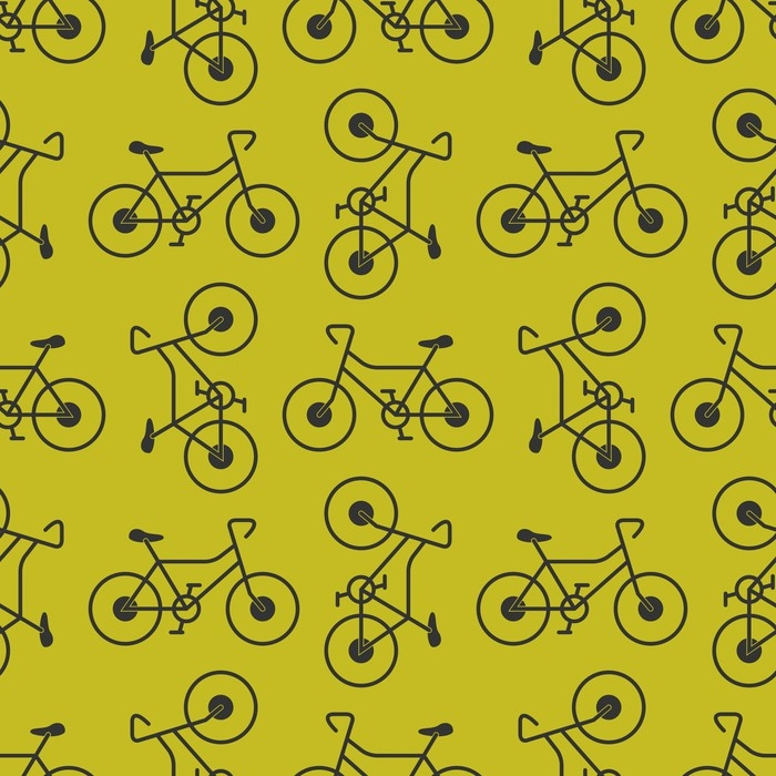 Bicycle Seamless Pattern On Yellow Background Vector Retro Bike