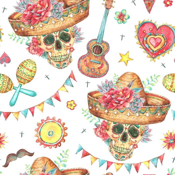 Watercolor seamless pattern with skull in sombrero Pixerstick Sticker -  Hobbies and Leisure 0218c6b8e64