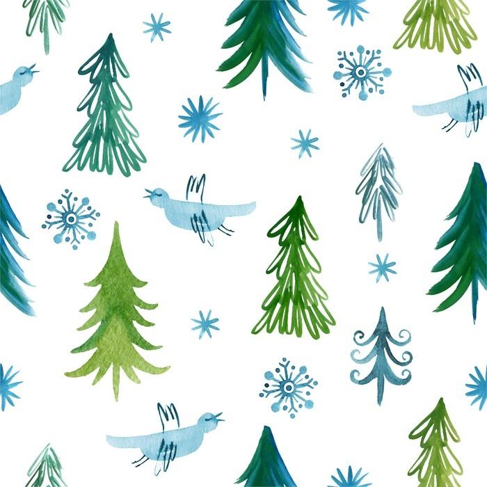 Carta da Parati a Motivi in Vinile Alberi di Natale, modello senza soluzione di continuità -
