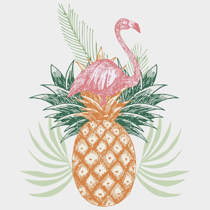 papier peint flamant rose sur imprim tropical ananas. Black Bedroom Furniture Sets. Home Design Ideas