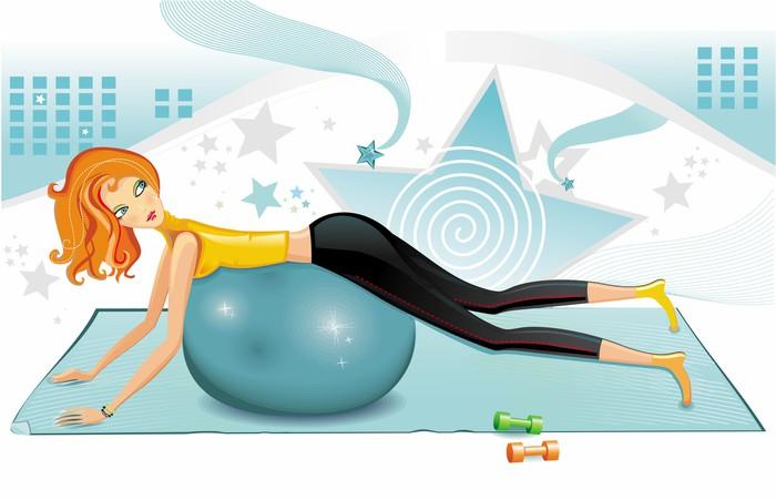 Tableau sur Toile Femme sexy exercice avec une boule de pilates. - Femmes