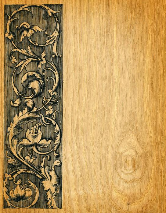 Renaissance engravings on red oak wood Wall Mural • Pixers® • We ...