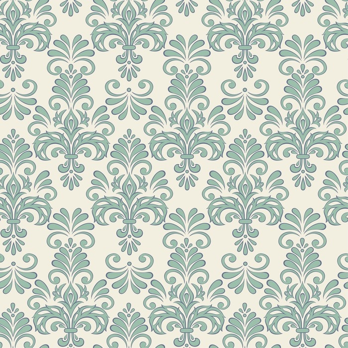 Seamless Vector Floral Wallpaper Baroque Style Pattern Vinyl Wall Mural
