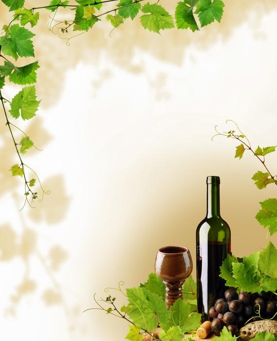 Pixerstick Aufkleber Red wine and grapevine Rahmen - Themen