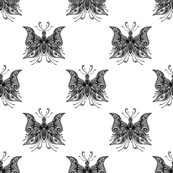 papier peint motifs mod le sans couture avec des papillons zentangle en noir et blanc pixers. Black Bedroom Furniture Sets. Home Design Ideas