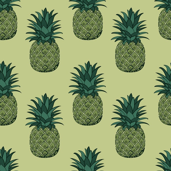 Vinylová fototapeta Vektorové ilustrace bezproblémové vzorek ananasu. pozadí s tropickým ovocem - Vinylová fototapeta