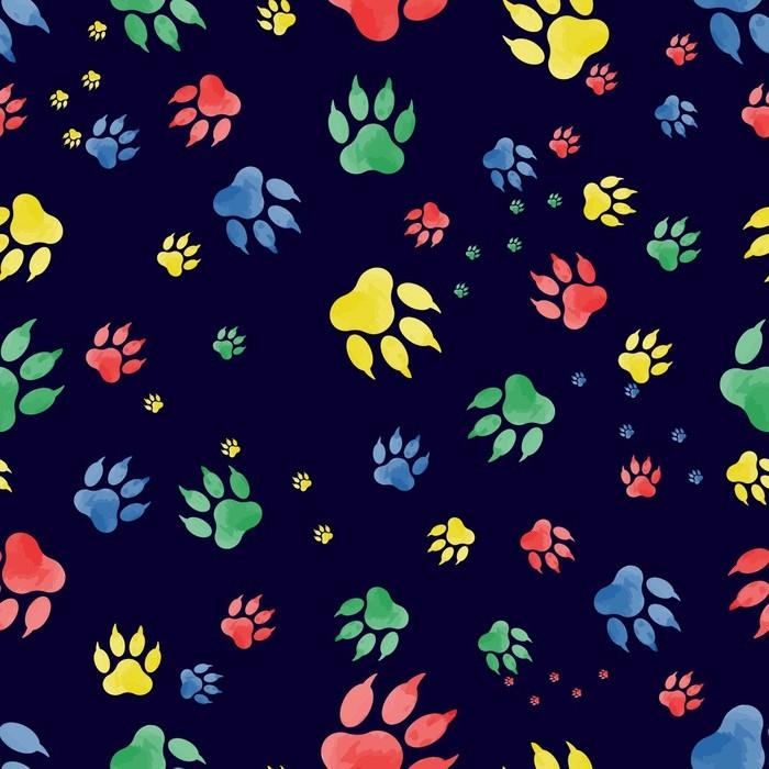Fototapete Nahtlose Muster von Hund Pfote Marken. bunte Spuren von ...