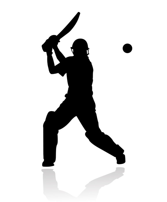 Cricket Player In Action Silhouette Wall Mural Pixers