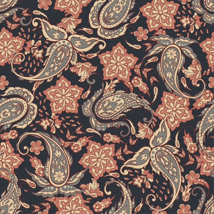 tableau sur toile motif paisley sans couture dans le style indien illustration vectorielle. Black Bedroom Furniture Sets. Home Design Ideas
