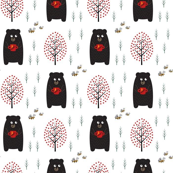 Vinilo Pixerstick Oso con miel, abejas y árboles de patrones sin ...