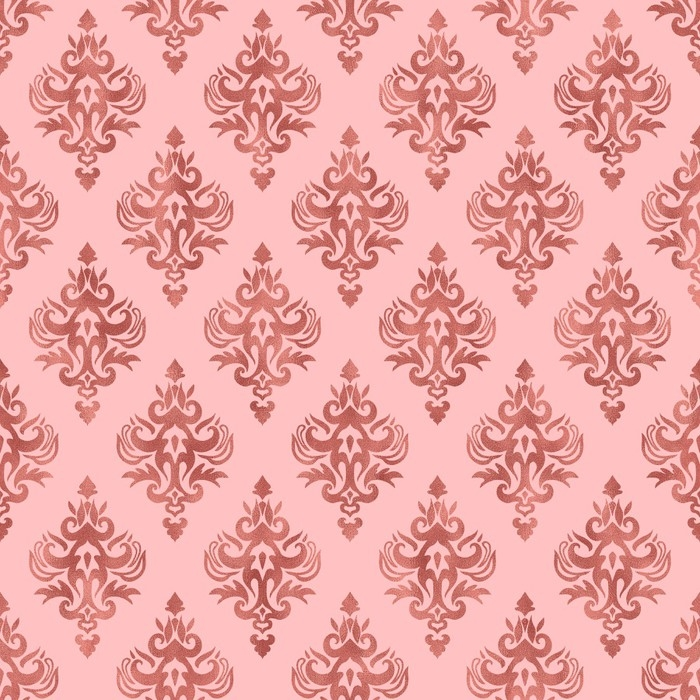 Pink And Rose Gold Foil Texture Seamless Damask Pattern Pixerstick Sticker Graphic Resources
