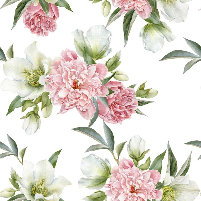 Floral seamless pattern with peonies and hellebore Vinyl Wall Mural - Plants and Flowers