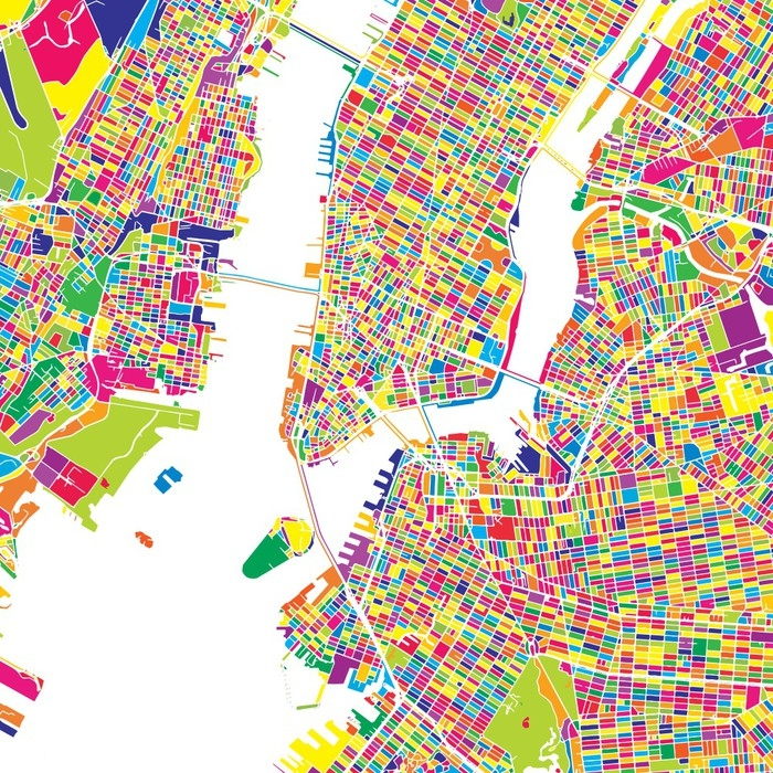 New York City, United States, colorful vector map Wall Mural ...