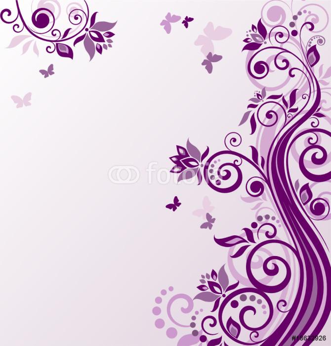 Vinylová Tapeta Květinové fialové pozadí - Pro předškolačku