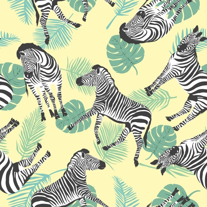 sketch seamless pattern with wild animal zebra print silhouette on