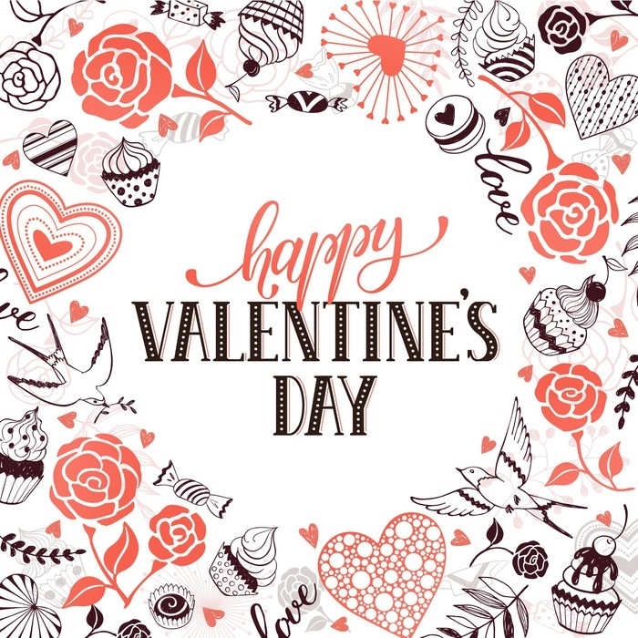 Fototapete Glückliche Valentinstag Grußkarte. romantischer Rahmen ...