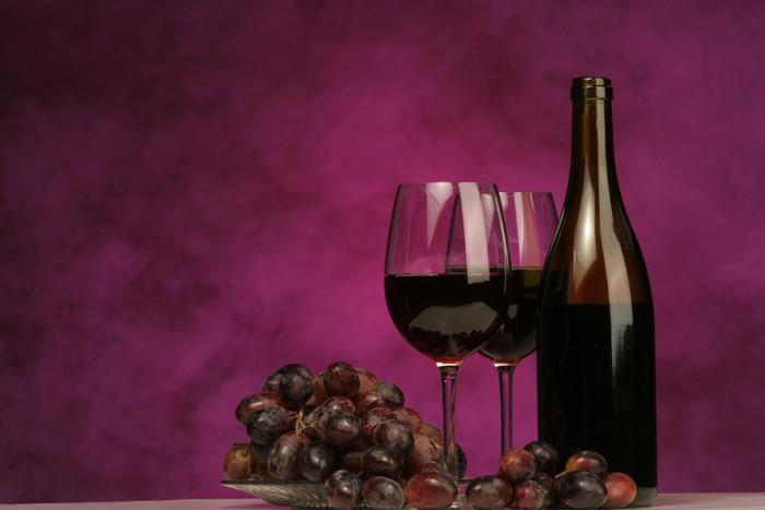 Tableau sur Toile Horizontale de la bouteille de vin avec des lunettes et raisins - Thèmes