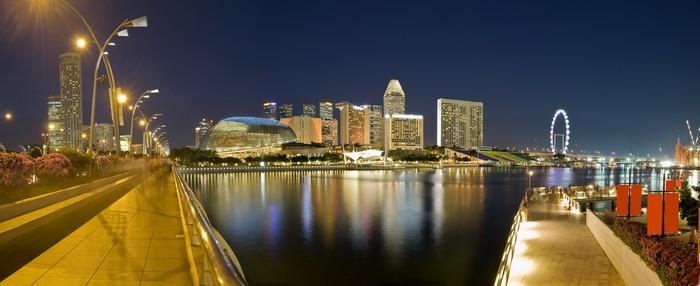 Vinylová Tapeta Panoramatický výhled na Singapore City Večerní Skyline - Asijská města