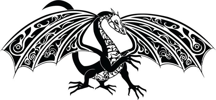 Fototapete Traditioneller Drachen in schwarz und weiß • Pixers ...