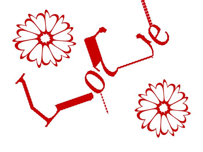 Nálepka Pixerstick Slovo láska s květinami - Páry
