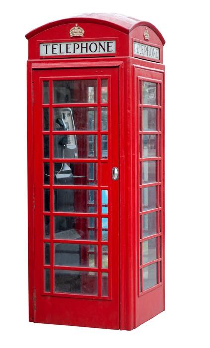 Sticker Cabine Tlphonique Rouge  Londres Isol Sur Blanc  Pixers
