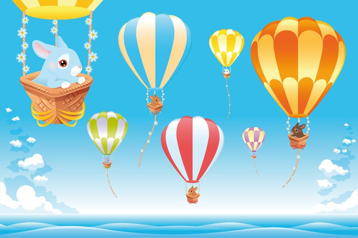 Hot air balloons on the sea with bunny cartoon and vector scene hot air balloons on the sea with bunny cartoon and vector scene canvas print voltagebd Gallery