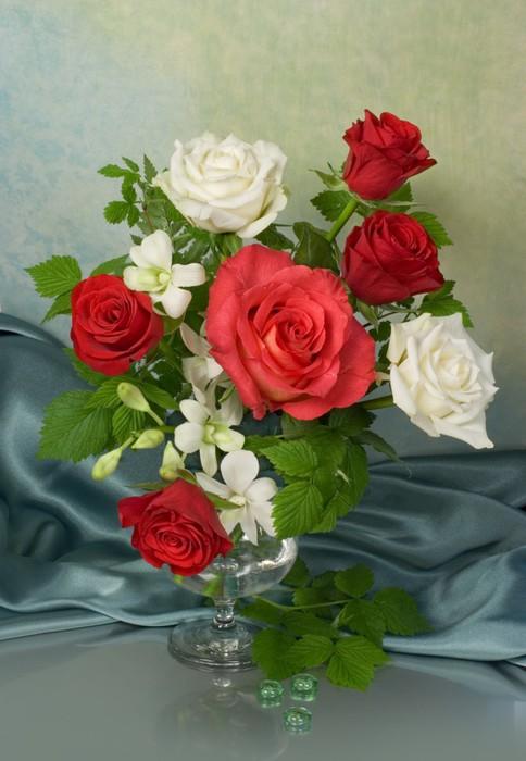 Vinylová Tapeta Kytice s růžemi - Květiny