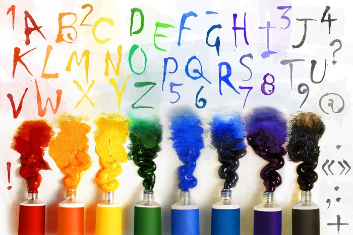 Tubes of paint with alphabet