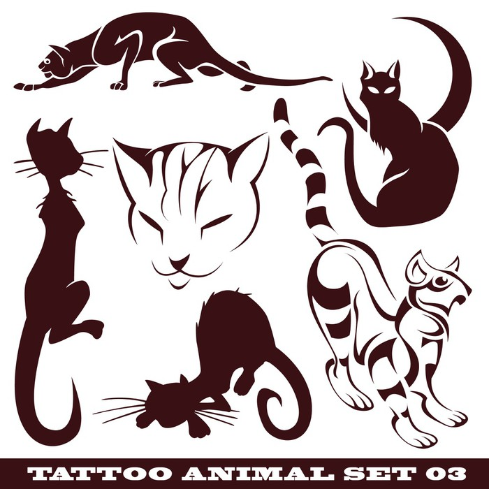templates cats for tattoo and design on different topics Wall Mural