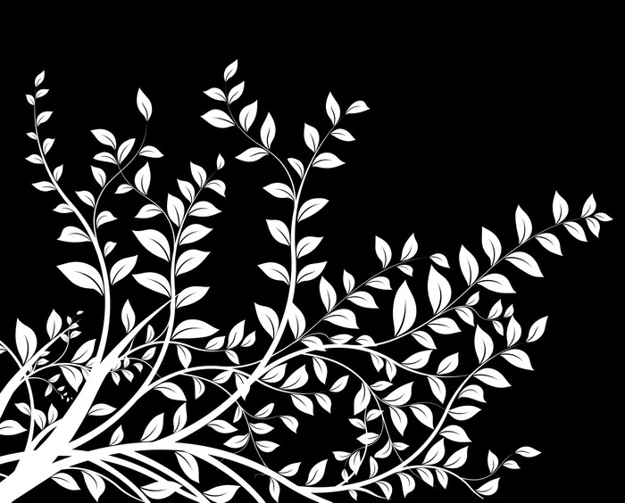 Masque Noir Et Blanc Floral Decor Décoration Avec Arbre Wall