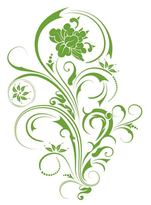 Sticker motif de fleur vert pixers nous vivons pour for Sticker decorativos para ninos