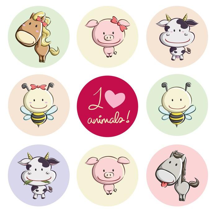 Cute Farm Animals Sticker - Pixerstick -
