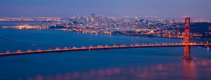 Vinylová Tapeta San Francisco - noční panorama - Americká města