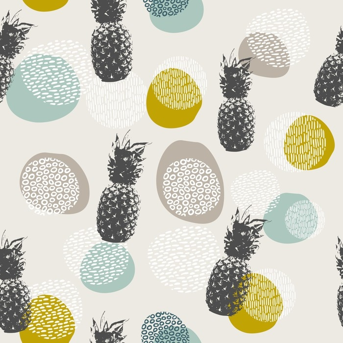 Summer pineapple background with boho decoration Vinyl Wall Mural - Graphic Resources