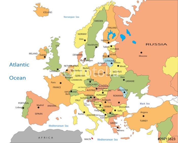 Papier Peint Vinyle La carte politique de l'Europe - Thèmes