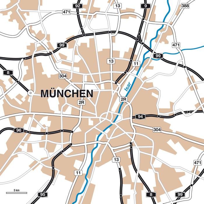 Fototapete Stadtplan/Umgebungskarte München • Pixers® - Wir leben ...