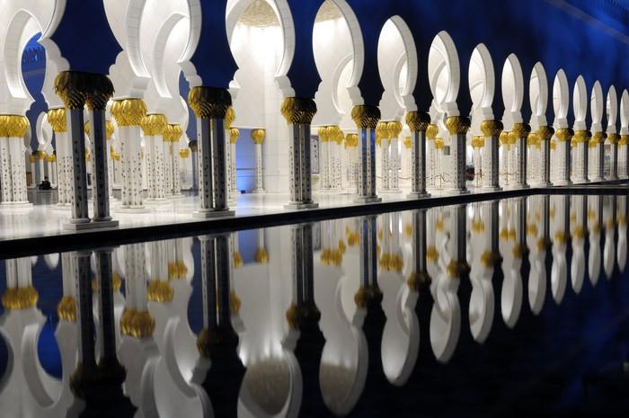 Papier Peint Vinyle Détail de la mosquée Sheikh Zayed dans la nuit. Abu Dhabi, Émirats Arabes Unis - Moyen Orient