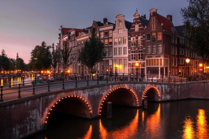 Vinylová Tapeta Amsterdam kanál za soumraku, Nizozemsko - Témata