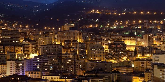 Vinylová Tapeta Monako v noci. - Domov a zahrada